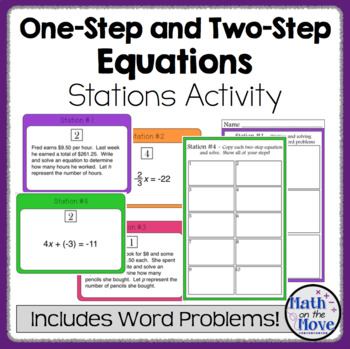 Equations Stations Activity - One and Two Step (Includes W