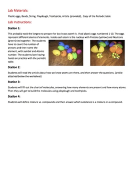 Stations: Elements, Atoms, and Mixtures vs. Compounds