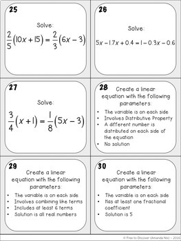 Solving Linear Equations Task Cards