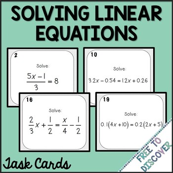 Solving Linear Equations Activity - Task Cards