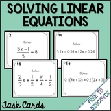 Solving Linear Equations Task Cards Activity