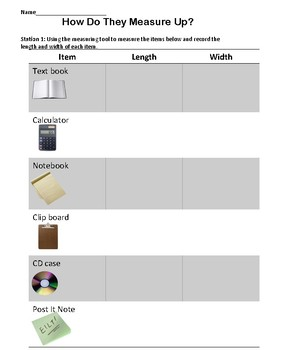 Stations: Making Measurements Activity- Measuring Tools