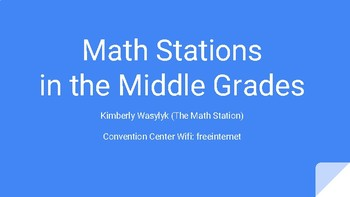 Math Stations in the Middle Grades OCTM 2017