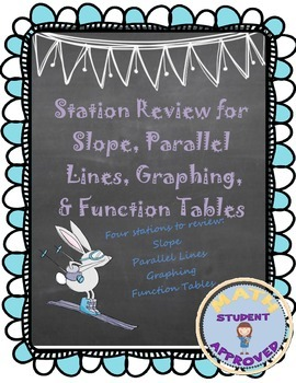 Stations Review for Slope, Parallel Lines, Function Tables, & Graphing