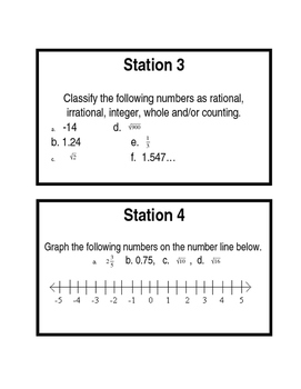 Stations TEKS 8.2ABCD - Number System, Ordering, Scientific and Irrationals