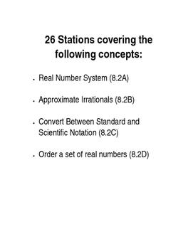 Stations TEKS 8.2ABCD - Number System, Ordering, Scientifi