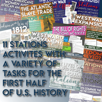 Stations and Gallery Walk Bundle First Half of U.S. History Distance Learning