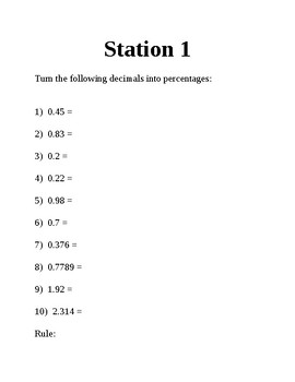 Stations and Percent of a number