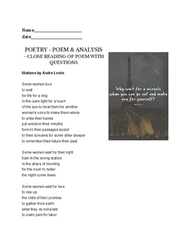 Stations by Audre Lorde - poetry assignment - writing options and poetry reading