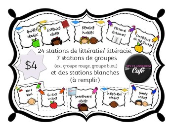 over 30 Stations de littéracie ou littératie (30 literacy stations in French)