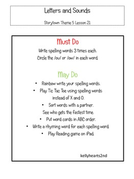Stations for Storytown Lesson 21