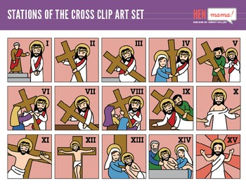 Stations of the Cross Clip Art Set (15 stations - Great fo