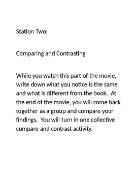 Stations to use while showing a movie in Language Arts