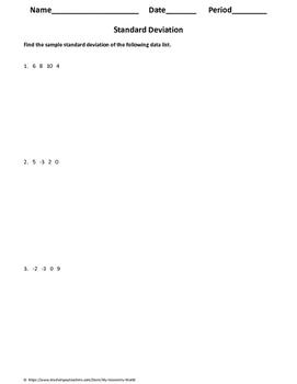 Statisics Worksheet: Standard Deviation