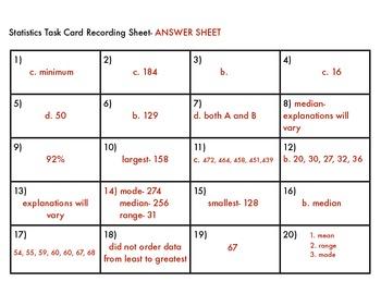 Statistic Task Cards