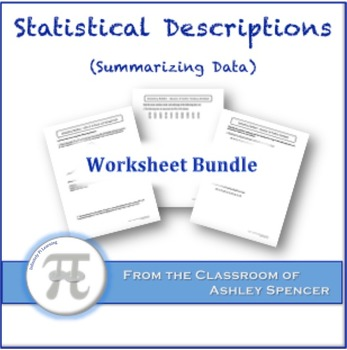 Statistical Descriptions (Summarizing Data) Worksheet Bundle