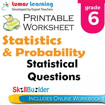 Statistical Questions Printable Worksheet, Grade 6