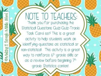 Statistical Questions Quiz-Quiz-Trade Task Card Set