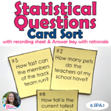 Statistical Questions Task Card/ Card Sort Activity