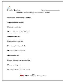 Identifying Statistical Questions Worksheets