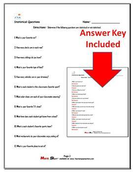 Identifying Statistical Questions Worksheets (Two Worksheets)