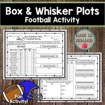 Box and Whisker Plot Football Activity (Statistics & Probability)