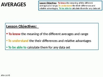 Statistics: Averages 1 - Finding the mean, median, mode and range (+ Activities)