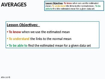Statistics: Averages 3 - Grouped Data / Estimated Mean  (+ worksheet)