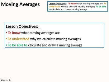 Statistics: Averages 5 - Moving Averages (Time Series) + lots of resources