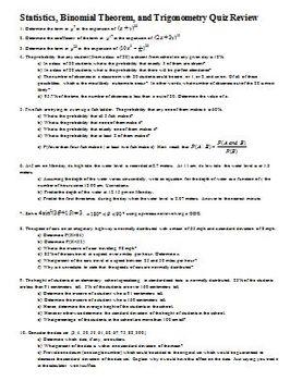 Statistics Binomial Theorem and Trigonometry Quiz Review S
