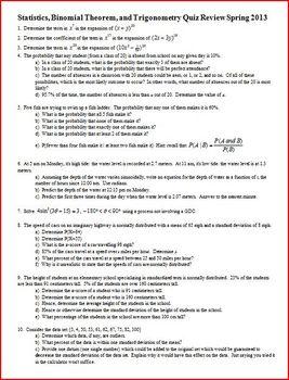 Statistics, Binomial Theorem, and Trigonometry Quiz Review Spring 2013