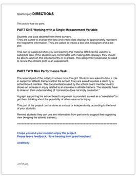 STATISTICS - Histograms, Box Plots, Dot Plots: A Performance-Based Task