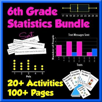 Statistics Bundle - 6th Grade - 20+ Activities 100+ Pages