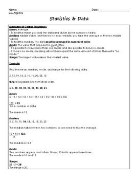 Statistics & Data Regents Review (Notes & Practice Questions)