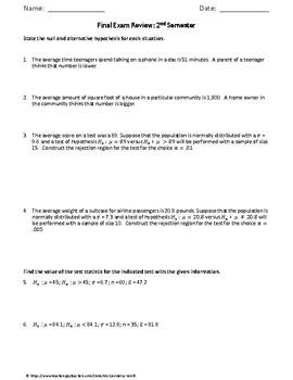 Statistics Final Exam Review: 2nd Semester Final Exam Review