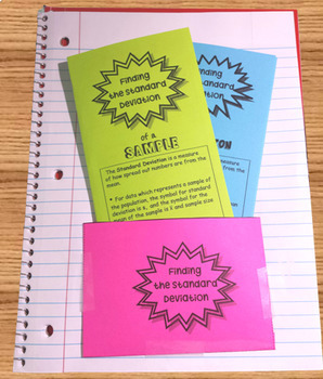 Statistics Finding the Standard Deviation Foldable Organizers
