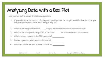 Statistics - Five Point Summary - Box Plots - Grade 6