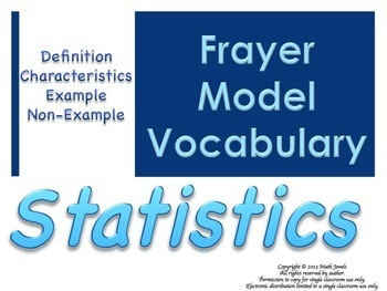 Statistics Frayer Model Vocabulary (Vocabulary they will LIKE and USE)