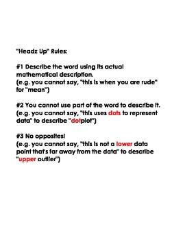 "Statistics ""Heads Up"" Vocabulary Game (Math I)"