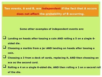 Statistics:  Independent Events