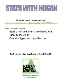 Statistics - Introduction to Hypothesis Tests