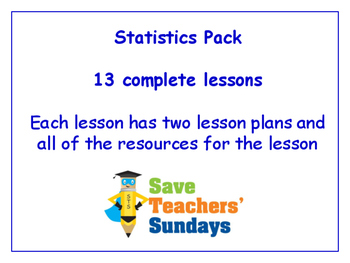 Statistics Lessons Bundle / Pack (13 Lessons for 1st to 2nd grade)