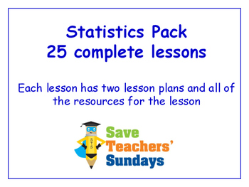 Statistics Lessons Bundle / Pack (25 Lessons for 2nd to 4t