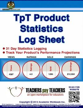 FREE Statistics Log Sheet, Data Analytics, TpT Product Performance Log