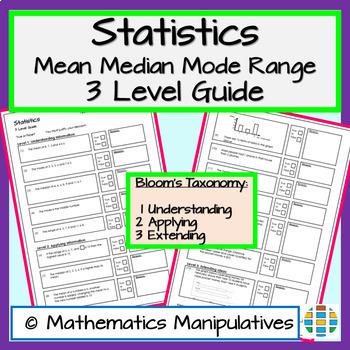 Statistics Mean Median Mode Range 3 Level Guide