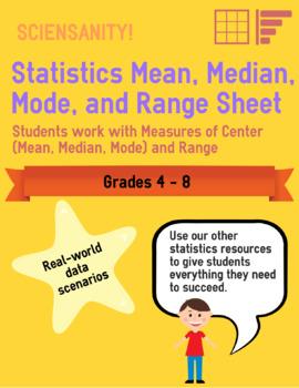Statistics: Mean, Median, Mode, and Range Sheet 1