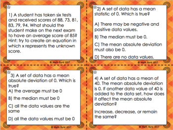 Statistics:Measures of Center & Spread (Mean,Median,Mean Absolute Deviation,IQR)