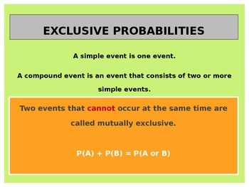 Statistics:  Mutually Exclusive and Inclusive Events