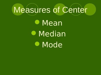 Measures of Center/ Spread/ Statistics Powerpoint