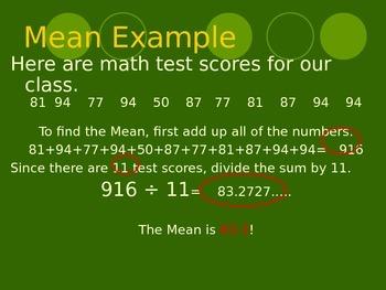 Measures of Center/ Spread/ Statistics Powerpoint